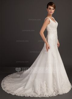 A-Line/Princess V-neck Chapel Train Satin Tulle Wedding Dress With Beading Appliques Lace (002015557)