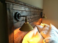 Rustic Farmhouse Headboard with Lighting by HenryandWales on Etsy