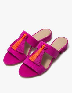 9c65ffc0f4d7 Double strap sandal from Loeffler Randall. Azalea kid suede with silky Fluo  tassel accents at