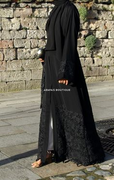 Sultana Black Floral Lace Open Abaya - Women's style: Patterns of sustainability Abaya Designs Latest, Abaya Designs Dubai, Abaya Noir, Mode Abaya, Abaya Fashion, Muslim Fashion, Fashion Dresses, Fashion Muslimah, Women's Dresses