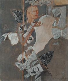 Artist:  C. DOUGLAS Title:  BLIND POET AND BUTTERFLIES Medium:  MIXED MEDIA ON PAPER MOUNTED ON CANVAS Size:  71X58 CMS Exhibition:  50th Annual Exhibition, 2017 Price:  1,50,000/-