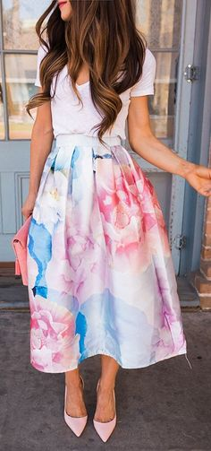 Cotton candy colors in a watercolor design make for a yummy yet classy A-line skirt. Bloom in Watercolor Printed Midi Skirt featured by The J Petite Blog