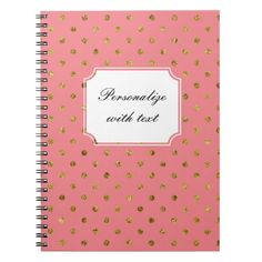 Chic Gold and Pink Dots Note Book