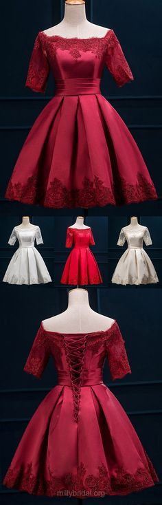 Homecoming Dresses,A-line Off-the-shoulder Cocktail Dresses,Satin Short Party Gowns,Appliques Lace 1/2 Sleeve Prom Dresses