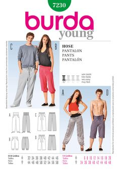 casual sports and leisure pants for her and him, with round slant pockets. different waist solutions and lengths.