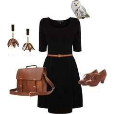 """""""With an owl on it"""" by laurenasia on Polyvore    academic   professor   work   outfit   """