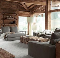 Love the gray and the wood color contrast in this woodhouse's sitting room Chalet Interior, Living Room Interior, Interior Design, Cabin Homes, Log Homes, Chalet Design, Design Hotel, Wood Interiors, Cabin Interiors