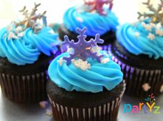 Pretty cupcakes at a Frozen party!  See more party ideas at CatchMyParty.com!  #partyideas #frozen