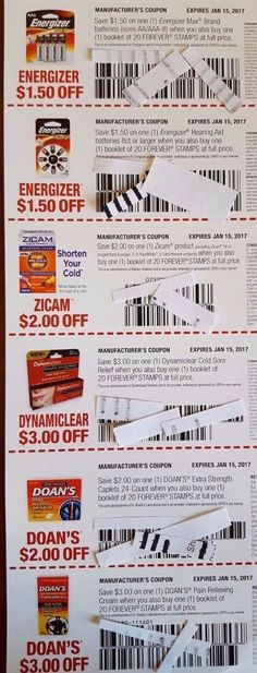 ENERGIZER Battery COUPONS Zicam DYNAMICLEAR Doan's DEALS Promo CODES (Stamps)***