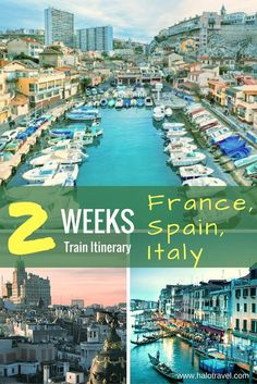 2 weeks Europe! 14 to 18 day itinerary through France, Spain and Italy. Enjoy this Europe rail tour. Travel to: Madrid, Barcelona, Marseille, overnight stop in Montpellier, Nice, Venice, Rome.