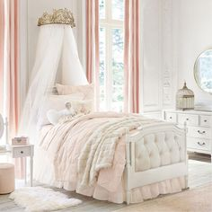 Made from solid wood and crafted with dovetail joinery, the Blythe collection is built to last a lifetime. Finished in French White with beautiful tufted boards and subtle arches, this neutral and classic bed will fit right in with their bedroom decor. Barn Bedrooms, Teen Girl Bedrooms, Girl Rooms, Bedding Master Bedroom, Master Bedroom Design, Dream Bedroom, Tufted Bed, Upholstered Beds, Bedroom Furniture
