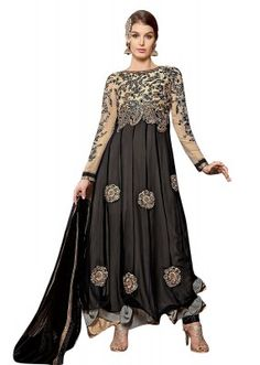 24b8ae8bf Party Wear Beige   Black Georgette Anarkali Suit - 1001