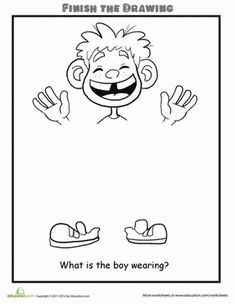 Second Grade People Life Learning Worksheets: Finish the Drawing: What is the Boy Wearing?