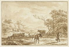 Jacob Cats (1741-1799) | Landschap met vee en boer met emmer, Jacob Cats (1741-1799), 1778 |