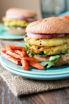 Coconut-Curry Chickpea Quinoa Pineapple Burgers... - Vegetarian & Vegan Recipes (make with no bun or oil- bake or grill instead of fry