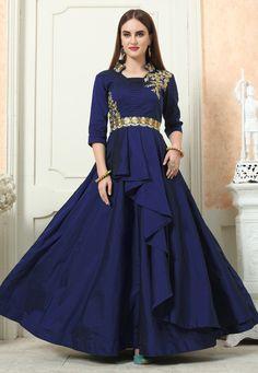 b3feb6cf060 Navy Blue Taffeta Readymade Layered Gown 166152