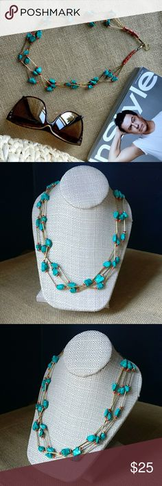 ❄️Gift ideas❄️Beautiful Handmade Necklace Handmade Blue and Goldtone Necklace. Length 25''/ 52 cm.  ⭐NWT. ⭐No trade. ⭐Price firm. ⭐Shipping is same day or next day.  Color depends on the screen of your /  Take advantage  of 10 % when you bundle two or more items.️  Thank you for visiting my closet Jewelry Necklaces