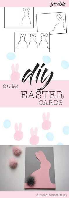 DIY Easter Cards. So Cute with Pompom-Bunny-Clip free download. Osterkarten einfach selber machen