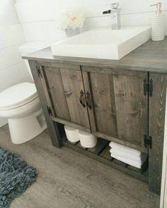 Love the DIY rustic bathroom vanity cabinet (Diy Bathroom Remodel) Rustic Bathroom Designs, Rustic Bathroom Vanities, Rustic Bathroom Decor, Bathroom Vanity Cabinets, Bathroom Renos, Vanity Sink, Master Bathroom, Bathroom Storage, Brown Bathroom