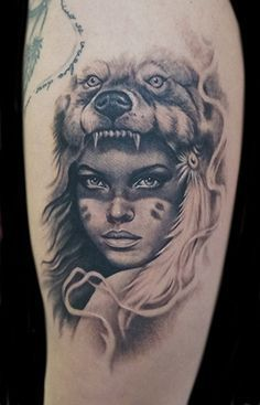 Skulls - Resulting εικόνας για woman in wolf headdress You are in the right place about Skulls Tatt - Tattoo Girls, Wolf Girl Tattoos, Indian Girl Tattoos, Wolf Tattoos For Women, Tattoo Wolf, Head Tattoos, Body Art Tattoos, Sleeve Tattoos, Cool Tattoos