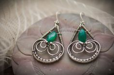 Green onyx and sterling silver wire wrapped earrings, oxidized