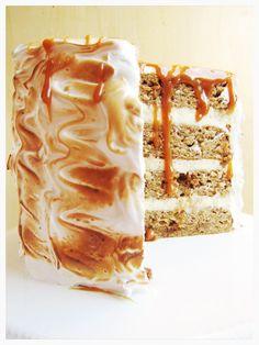 Toasted Marshmallow Caramel Banana Cake with Cheesecake Frosting via @thebusyspatula/