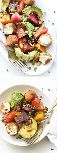 Beet, Avocado and Fried Goat Cheese Salad with pistachios for crunch | foodiecrush.com