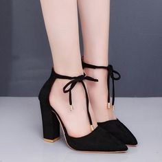 Image of CPI 2018 New 6 Colors Pointed Strappy Pumps Sexy Retro High Thick Heels.,Image of CPI 2018 New 6 Colors Pointed Strappy Pumps Sexy Retro High Thick Heels Shoes Woman Shoes Female Lace Up Shoes Women's Shoes Whether b. Chunky Heel Pumps, Pumps Heels, Stiletto Heels, Chunky Heels Closed Toe, Heeled Sandals, Thick Heels Pumps, Closed Toe Sandals, Chunky High Heels, Nude Heels