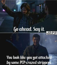 I replayed Dean laughing in that scene about a thousand times. It was one of the happiest sounds I'd ever heard him make. I was crying after about 5 straight minutes of Dean-laugh on repeat because we NEVER get this any more..