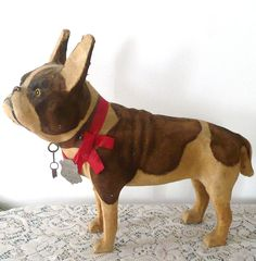 """Toy that is 12"""" Cloth Covered Brindle & Cream French Bull Dog Glass Eyes from the 19th or early 20th Century."""