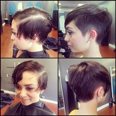 Before and after, pixie undercut for my baby sister, by Jackie #jghairartist