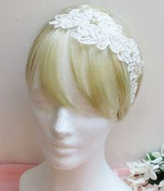 Lace Bridal Headband Lace Bridal Head Tie Wedding by eorostyle