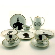 Set for 2 Nightmare Before Christmas His Hers 2 Cups Oval Coffee Pot 4 Plates Creamer Porcelain Tim Burton Musical Film from MoreThanPorcelain on Etsy.