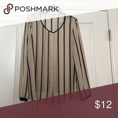 Top Silky long sleeve striped blouse with hidden buttons and black trim on collar and sleeves LOFT Tops Blouses