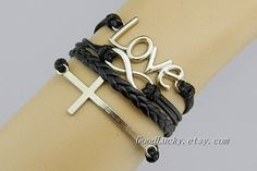 BraceletFamily GiftsBlack leather by charmjewelrybracelet on Etsy, $9.99