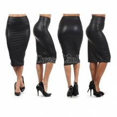 HOT WOMEN BLACK FAUX LEATHER PENCIL SKIRT High Waist Sexy Below Knee Long Sexy