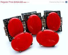 Spring Sale Vintage Red Glass Rhinestone Set Bracelet Earrings Statment Demi