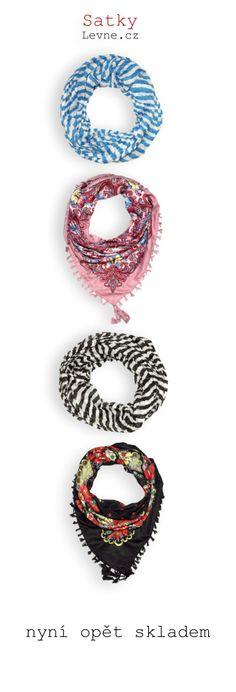 čtvercové šátky se vzorem květin a porcelánu:   http://www.satkylevne.cz/www/cz/shop/ctvercove-satky-vzor-kvetin/  pruhované šátky roura:   http://www.satkylevne.cz/www/cz/shop/pruhovane-satky-roura/