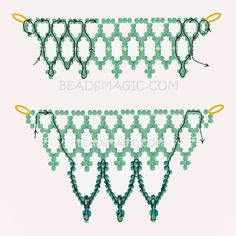 Free pattern for beaded necklace Snow Touch   U need: seed beads 11/0 cube beads 4 mm seed beads 6/0 or round beads 4 mm