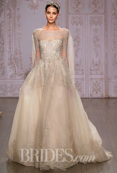 """Brides.com: . """"Elizabeth"""" rose gold embroidered tulle ball gown wedding dress with illusion long sleeves, Monique Lhuillier"""