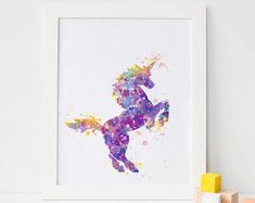 Weekend Sale 20% OFF Unicorn 6 Watercolor Print by ArtsPrint