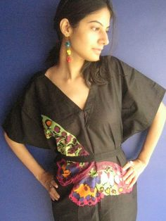 fly fly Butterfly  Black Kaftan Dress  Can be worn by silkandmore, $30.00