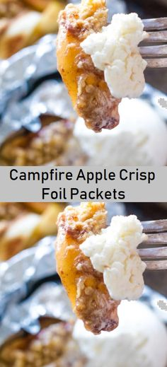 These delicious foil packets stuffed with your favorite apple crisp are perfect for making on the grill, over the campfire or in your oven! #applecrisp #foilpacket Campfire Meals Foil, Campfire Food, Campfire Recipes, Foil Packet Meals, Foil Packets, Fire Cooking, Outdoor Cooking, Grilled Desserts, Camping Menu