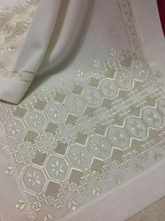 Hardanger Embroidery This Pin was discovered by neş Hand Work Embroidery, Types Of Embroidery, Learn Embroidery, Embroidery Patterns, Knitting Patterns, Hand Work Design, Drawn Thread, Hardanger Embroidery, Bargello