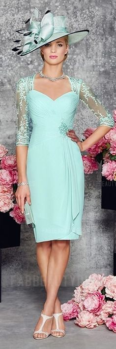 Gorgeous Sheath Column Knee-length Chiffon Mother of the Bride Dress! See more at http://www.cutedresses.co/product/sheath-column-knee-length-chiffon-mother-bride-dress/