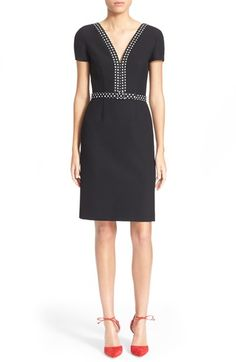 """Free shipping and returns on Diane von Furstenberg 'Maisie' Dress at Nordstrom.com. <p><b style=""""COLOR:#990000"""">Pre-order this style today! Add to Shopping Bag to view approximate ship date. You'll be charged only when your item ships.</b></p><br />Lively dot-printed trim adds a pop of contrast to an elegant V-neck dress designed with trim short sleeves and a gentlyflaredknee-length skirt for a smart,sophisticated silhouette."""