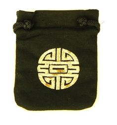 "What better way to keep loose change than with this cotton pouch, embroidered with a large ""Shou"" symbol, which represents longevity in Feng Shui."