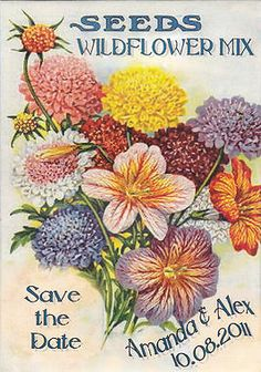 Wildflower Seed Save The Date Packets with envelopes. www.SeedPackets2u.com