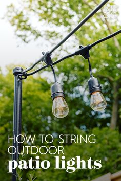 Try Out This Permanent Solution for Your Patio String Lights - Lighting Ceiling - Ideas of Lighting Ceiling - string lights attached to black light pole Bistro Lights, Backyard Lighting, Lights In Backyard, Deck Lighting Ideas Diy, Outside Lights On House, Outside Lighting Ideas, Lighting For Gardens, Lights In Trees, Pergola With Lights