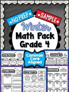 This is a FREE 5 PAGE SAMPLE of the following product:  Winter Math Pack for 4th Grade  This SAMPLE PACK includes: ♦ Cocoa Factors (1 page)-Write the factor pairs for the number in each mug. (4.OA.4) ♦ Round It Up! (1 page)- Color the pies that are rounded to the nearest 10 and nearest 100. (4.NBT.3) ♦ Sum and Round! (1 page)- Find the sum of two multi-digit whole numbers, then round the sum to the nearest 10 and nearest 100. (4.NBT.3, 4.NBT.4) ♦ Just the Facts! (1 page)- Write a ...
